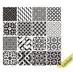 Adesivo para Azulejo 15x15cm com 16 Peças Preto E Branco - Dona Cereja