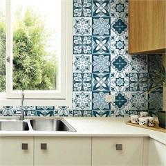 Adesivo para Azulejo Blau 15x15cm com 24 Peças Azul E Branco - Grudado