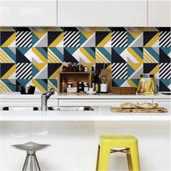 Adesivo para Azulejo Geometric Sixties 15x15cm com 24 Peças Amarelo E Azul - Grudado