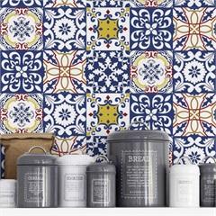 Adesivo para Azulejo Mix Império 15x15cm com 24 Peças Azul E Branco - Grudado