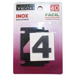 Algarismo Adesivo Número 4 em Inox Escovado 4cm