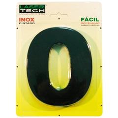 Algarismo Número 0 Inox Preto 15cm - Display Show