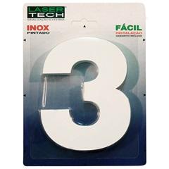 Algarismo Número 3 em Inox Branco 15cm - Display Show