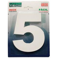 Algarismo Número 5 em Inox Branco 15cm - Display Show