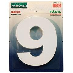 Algarismo Número 9 em Inox Branco 15cm - Display Show