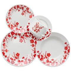 Aparelho de Jantar Donna Jardim Oriental com 20 Peças Branco E Vermelho - Biona