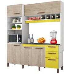 Armário para Cozinha em Mdp com Adega Horizontal Cacau 207x184cm Amarelo E Teka Albatroz - Albatroz