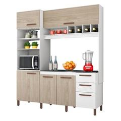 Balcão para Cozinha em Mdp com 3 Gavetas 207x184cm Branco Cacau E Teka - Albatroz