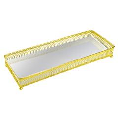 Bandeja em Metal com Espelho Retangular 34x13cm Dourada