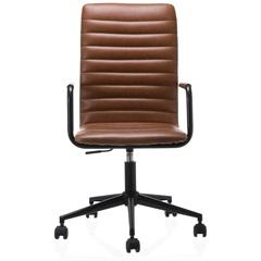 Cadeira em Poliuretano com Braço Winslow Cognac - Casa Etna