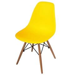 Cadeira Polipropileno com Pés de Madeira 82x47cm Amarela - Importado