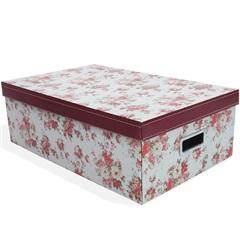 Caixa Organizadora Floral 50x31cm Vermelha - Boxgraphia