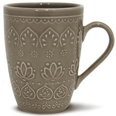 Caneca Cerâmica Relieve 320ml Cinza - Corona