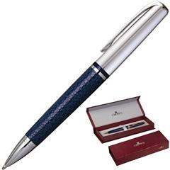 Caneta Esferográfica King Couro Azul E Prata - Crown