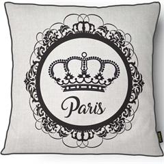 Capa para Almofada em Linho Harmony Paris 43x43cm Branca E Preta - Casanova