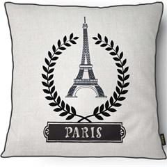 Capa para Almofada em Linho Harmony Torre Eiffel 43x43cm Branca E Preta - Casanova