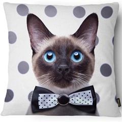 Capa para Almofada em Microfibra Pet Gato 43x43cm Branca E Preta - Casanova