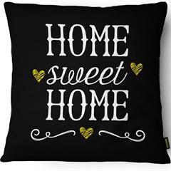 Capa para Almofada em Sarja Colors Home Sweet Home 43x43cm Preta  - Casanova