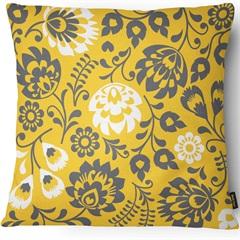 Capa para Almofada em Veludo Velveteen Flor 43x43cm Amarela