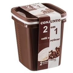 Conjunto com 2 Potes Quadrado 1900ml  - Plásticos Santana