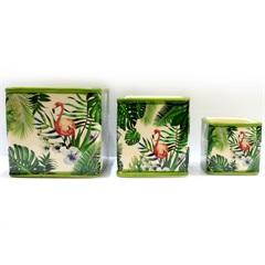 Conjunto de Cachepot em Cerâmica Flamingo com 3 Peças - BTC