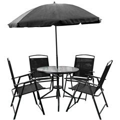 Conjunto de Cadeiras E Mesa com Guarda-Sol com 6 Peças Preto