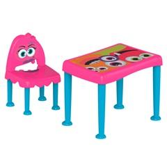 Conjunto de Mesa E Cadeira Monster Infantil Rosa