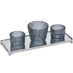 Conjunto de Vaso com Badeja em Metal Espelhado com 3 Peças Cinza - Importado