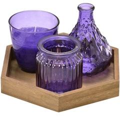 Conjunto de Vaso E Vela com Bandeja em Madeira com 3 Peças Roxo - Importado