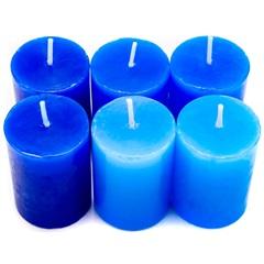Conjunto de Velas Baunilha Degrade com 6 Velas Azul