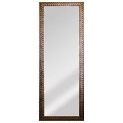 Espelho Retangular Moldura de Madeira Dourado 169x63cm