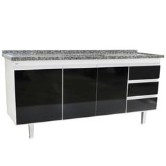 Gabinete de Cozinha para Pia de 1,80 Metros Preto - Bonatto