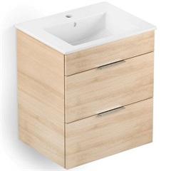 Gabinete Integrado em Mdf para Banheiro com Lavatório Cube 45x43cm com 2 Gavetas Carvalho - Celite