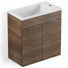 Gabinete Integrado em Mdf para Banheiro com Lavatório Cube 60x34cm com 2 Portas Wengue - Celite