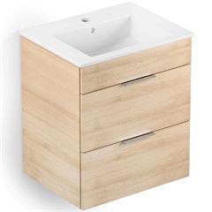 Gabinete Integrado em Mdf para Banheiro com Lavatório Cube 65x43cm com 2 Gavetas Carvalho - Celite