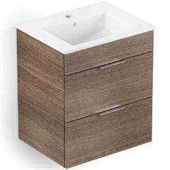 Gabinete Integrado em Mdf para Banheiro com Lavatório Cube 65x43cm com 2 Gavetas Wengue - Celite