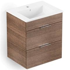 Gabinete para Banheiro em Mdf com Lavatório Cube 43x55cm Branco E Wengué - Celite