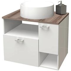 Gabinete para Banheiro em Mdf Iara 59,5cm Branco E Tamarindo - Cozimax