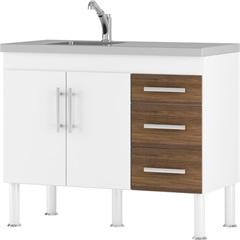 Gabinete para Cozinha em Mdp Flex 114x80cm Branco E Castanho - MGM Móveis