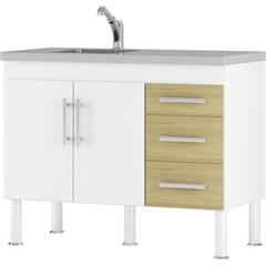 Gabinete para Cozinha em Mdp Flex 114x80cm Branco E Nogueira - MGM Móveis