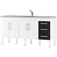 Gabinete para Cozinha em Mdp Flex 174x80cm Branco E Preto - MGM Móveis