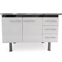 Gabinete para Pia de Cozinha 113x80cm Sonic Branco E Preto