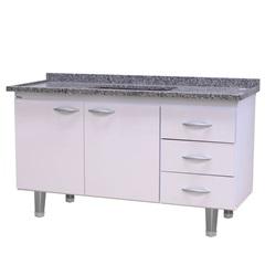 Gabinete para Pia de Cozinha 144x70cm Milano Branco - Bonatto