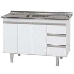 Gabinete Siena para Pia de Cozinha 144x66cm Branco - Bonatto