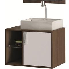Gabinete Suspenso para Banheiro com Cuba Sevilha 60cm Branco E Castanho - MGM Móveis