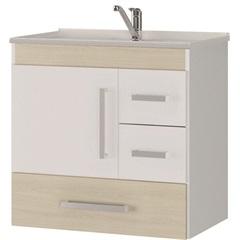 Gabinete Suspenso para Banheiro com Tampo Florença 60cm Acácia Claro - MGM Móveis