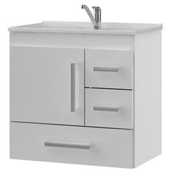 Gabinete Suspenso para Banheiro com Tampo Florença 60cm Branco - MGM Móveis