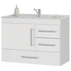 Gabinete Suspenso para Banheiro com Tampo Madri 80cm Branco - MGM Móveis