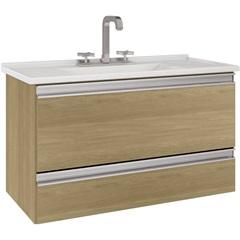Gabinete Suspenso para Banheiro com Tampo Treviso 80,4cm Nogueira - MGM Móveis