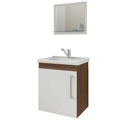Gabinete Suspenso para Banheiro Viena 52x45cm Branco E Castanho - MGM Móveis